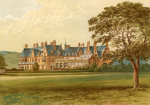 Hutton Hall. Illustration for Pictureque Views of Seats by F O Morris (William Mackenzie, c 1880).