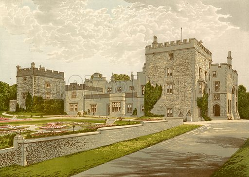 Muncaster Castle. Illustration for Pictureque Views of Seats by FO Morris (William Mackenzie, c 1880).