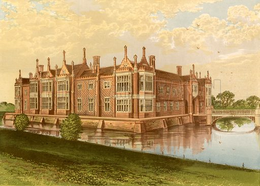 Helmingham Hall. Illustration for Pictureque Views of Seats by F O Morris (William Mackenzie, c 1880).