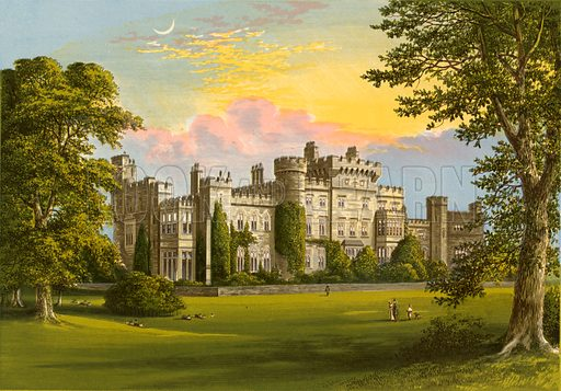 Hawarden Castle. Illustration for Pictureque Views of Seats by F O Morris (William Mackenzie, c 1880).