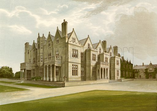 Acton Reynald Hall. Illustration for Pictureque Views of Seats by FO Morris (William Mackenzie, c 1880).