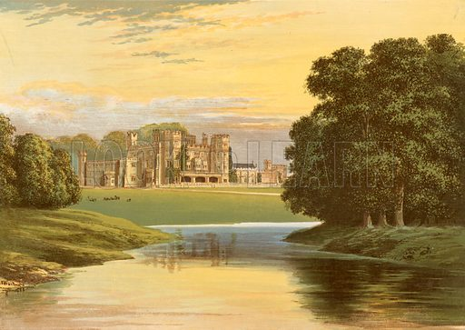 Sundorne Castle. Illustration for Pictureque Views of Seats by F O Morris (William Mackenzie, c 1880).