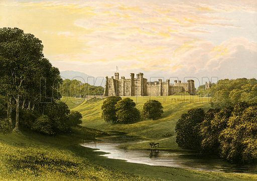 Brancepeth Castle. Illustration for Pictureque Views of Seats by FO Morris (William Mackenzie, c 1880).