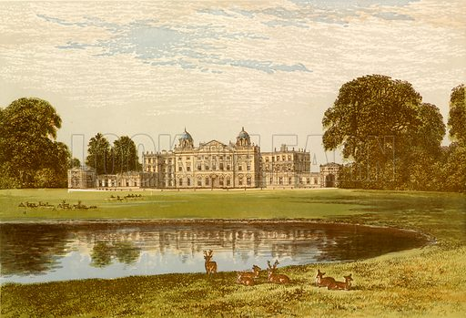 Badminton House. Illustration for Pictureque Views of Seats by FO Morris (William Mackenzie, c 1880).