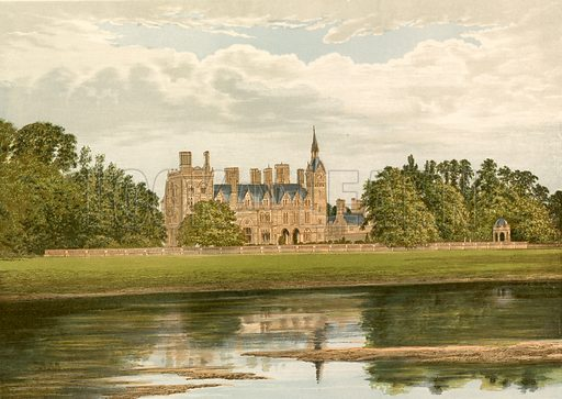 Kelham Hall. Illustration for Pictureque Views of Seats by F O Morris (William Mackenzie, c 1880).