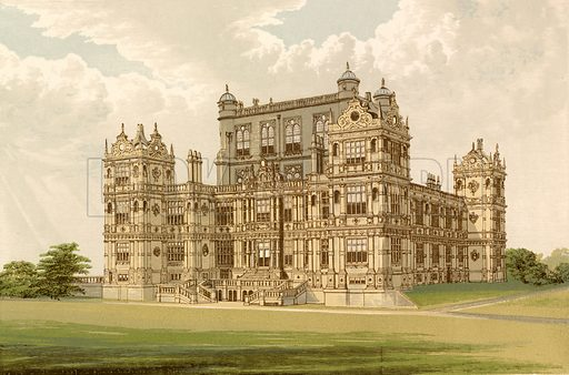 Wollaton Hall. Illustration for Pictureque Views of Seats by F O Morris (William Mackenzie, c 1880).