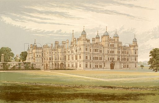 Burghley House. Illustration for Pictureque Views of Seats by FO Morris (William Mackenzie, c 1880).