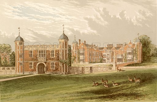 Charlecote. Illustration for Pictureque Views of Seats by FO Morris (William Mackenzie, c 1880).