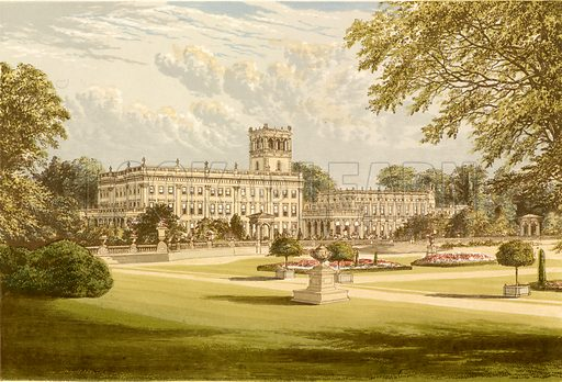 Trentham Hall. Illustration for Pictureque Views of Seats by FO Morris (William Mackenzie, c 1880).