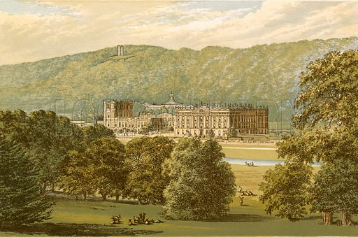 Chatsworth. Illustration for Pictureque Views of Seats by FO Morris (William Mackenzie, c 1880).