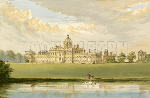 Castle Howard. Illustration for Pictureque Views of Seats by FO Morris (William Mackenzie, c 1880).