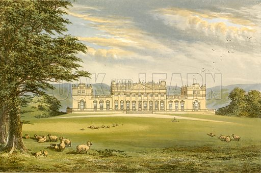 Harewood House. Illustration for Pictureque Views of Seats by FO Morris (William Mackenzie, c 1880).