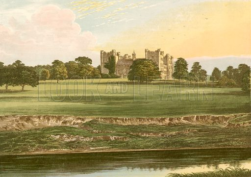 Lumley Castle. Illustration for Pictureque Views of Seats by F O Morris (William Mackenzie, c 1880).