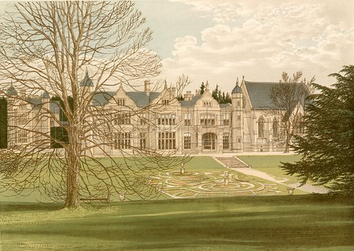 Exton House. Illustration for Pictureque Views of Seats by FO Morris (William Mackenzie, c 1880).