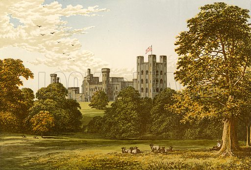 Penrhyn Castle. Illustration for Pictureque Views of Seats by F O Morris (William Mackenzie, c 1880).