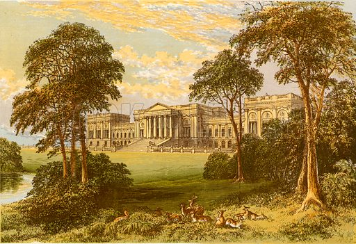 Stowe Park. Illustration for Pictureque Views of Seats by FO Morris (William Mackenzie, c 1880).