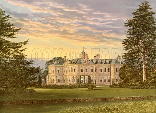 Hanbury Hall. Illustration for Pictureque Views of Seats by FO Morris (William Mackenzie, c 1880).
