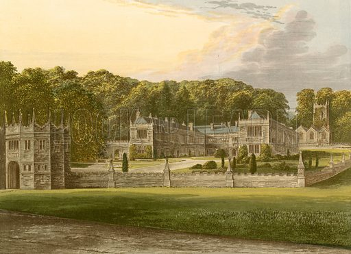 Lanhydrock. Illustration for Pictureque Views of Seats by FO Morris (William Mackenzie, c 1880).