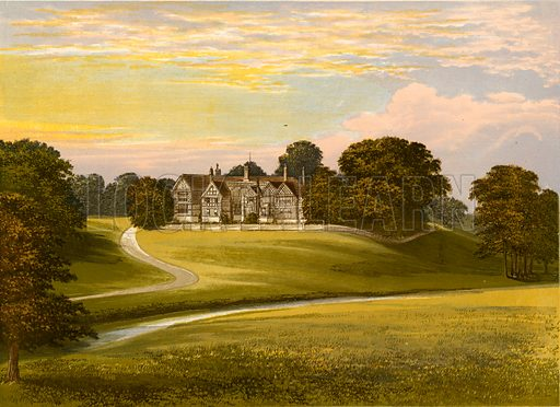 Bramhall Hall. Illustration for Pictureque Views of Seats by F O Morris (William Mackenzie, c 1880).