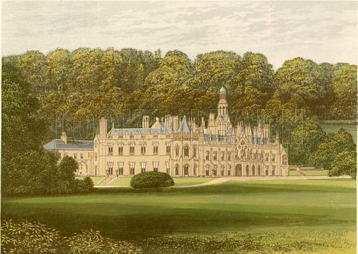 Shelton Abbey. Illustration for Pictureque Views of Seats by FO Morris (William Mackenzie, c 1880).