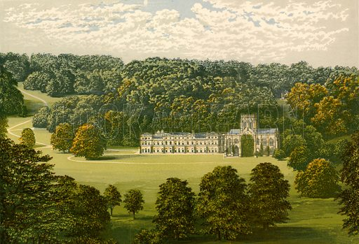 Milton Abbey. Illustration for Pictureque Views of Seats by F O Morris (William Mackenzie, c 1880).