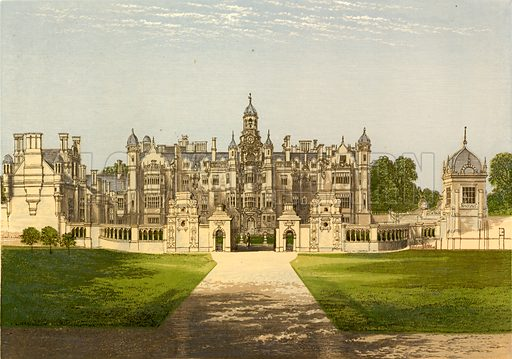 Harlaxton Manor. Illustration for Pictureque Views of Seats by FO Morris (William Mackenzie, c 1880).