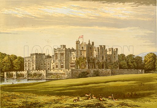 Raby Castle. Illustration for Pictureque Views of Seats by FO Morris (William Mackenzie, c 1880).