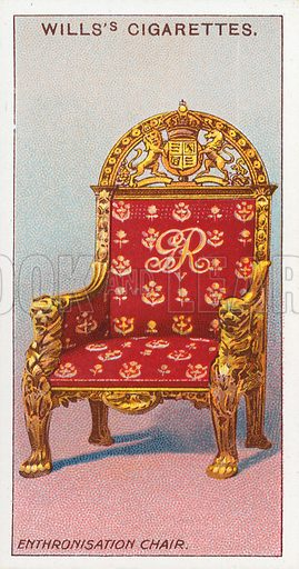 Enthronisation chair. Illustration for the Wills's Cigarettes series of Coronation Cards, 1911.