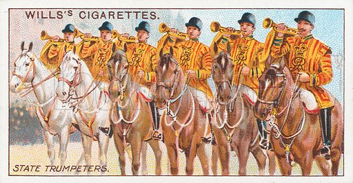 State Trumpeters. Illustration for the Wills's Cigarettes series of Coronation Cards, 1911.