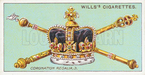 Coronation Regalia, 3. Illustration for the Wills's Cigarettes series of Coronation Cards, 1911.