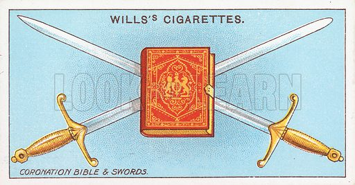Coronation Bible & Swords. Illustration for the Wills's Cigarettes series of Coronation Cards, 1911.