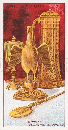 Ampulla, Anointing Spoon & C Illustration for the Wills's Cigarettes series of Coronation Cards, 1911.