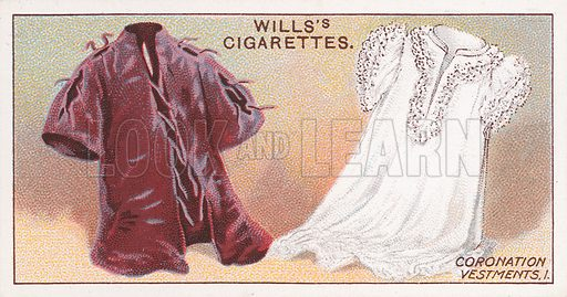 Coronation Vestments, 1. Illustration for the Wills's Cigarettes series of Coronation Cards, 1911.
