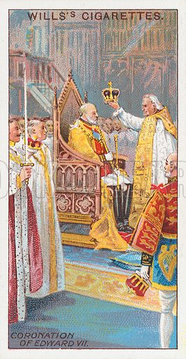 Coronation of Edward VII. Illustration for the Wills's Cigarettes series of Coronation Cards, 1911.
