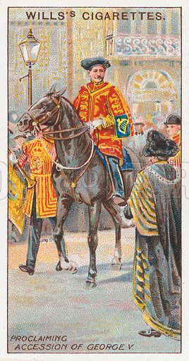 Proclaiming Accession of George V. Illustration for the Wills's Cigarettes series of Coronation Cards, 1911.