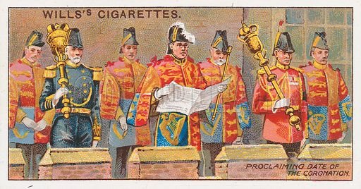 Proclaiming Date of the Coronation. Illustration for the Wills's Cigarettes series of Coronation Cards, 1911.