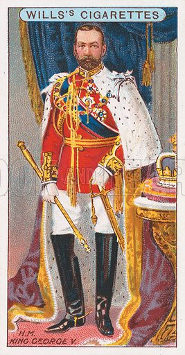 H.M. King George V. Illustration for the Wills's Cigarettes series of Coronation Cards, 1911.