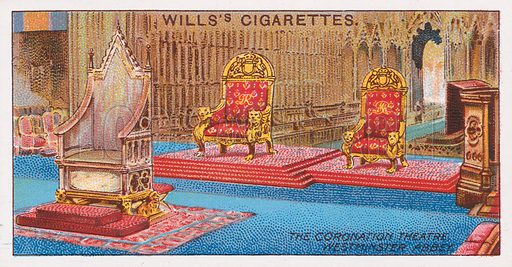 The Coronation Theatre, Westminster Abbey. Illustration for the Wills's Cigarettes series of Coronation Cards, 1911.