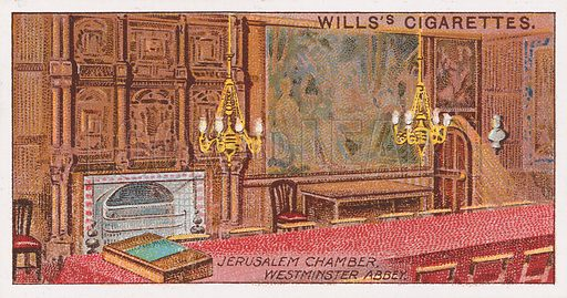 Jerusalem Chamber, Westminster Abbey. Illustration for the Wills's Cigarettes series of Coronation Cards, 1911.