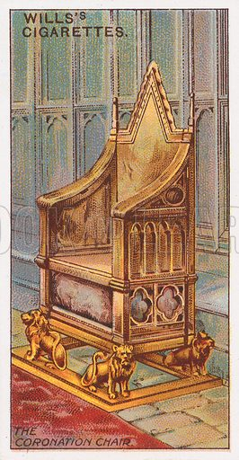 The Coronation Chair. Illustration for the Wills's Cigarettes series of Coronation Cards, 1911.