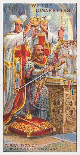 Coronation of Edward the Confessor. Illustration for the Wills's Cigarettes series of Coronation Cards, 1911.