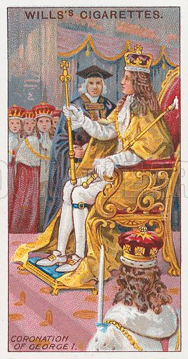 Coronation of George I. Illustration for the Wills's Cigarettes series of Coronation Cards, 1911.