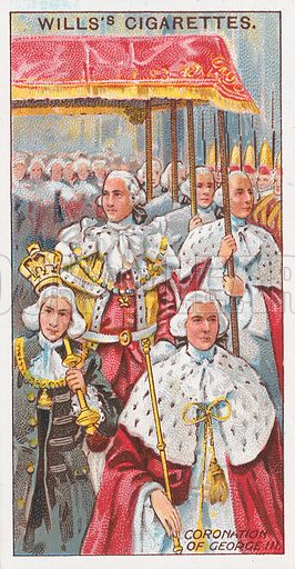 Coronation of George III. Illustration for the Wills's Cigarettes series of Coronation Cards, 1911.