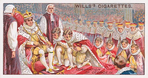 Coronation of George IV. Illustration for the Wills's Cigarettes series of Coronation Cards, 1911.