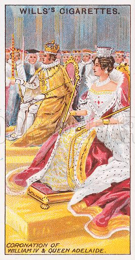 Coronation of William IV & Queen Adelaide. Illustration for the Wills's Cigarettes series of Coronation Cards, 1911.