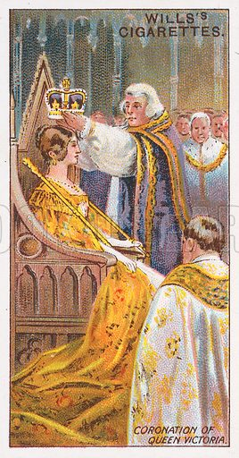 Coronation of Queen Victoria. Illustration for the Wills's Cigarettes series of Coronation Cards, 1911.