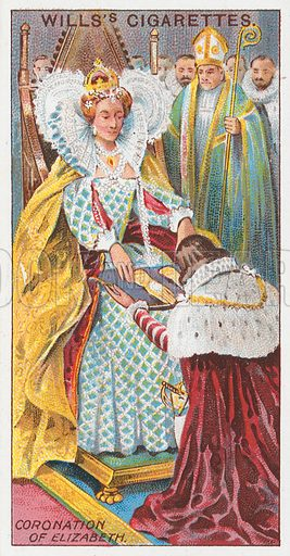 Coronation of Elizabeth. Illustration for the Wills's Cigarettes series of Coronation Cards, 1911.