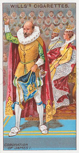 Coronation of James I. Illustration for the Wills's Cigarettes series of Coronation Cards, 1911.