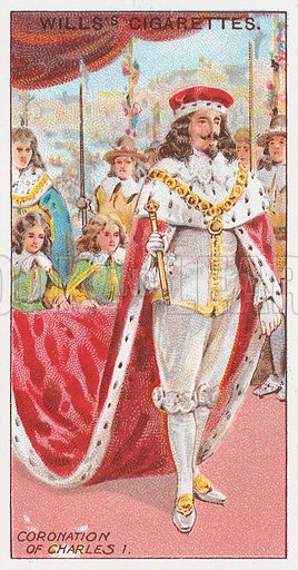 Coronation of Charles I. Illustration for the Wills's Cigarettes series of Coronation Cards, 1911.