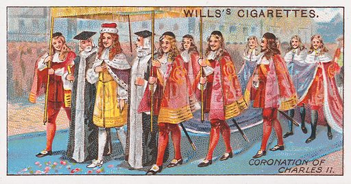 Coronation of Charles II. Illustration for the Wills's Cigarettes series of Coronation Cards, 1911.
